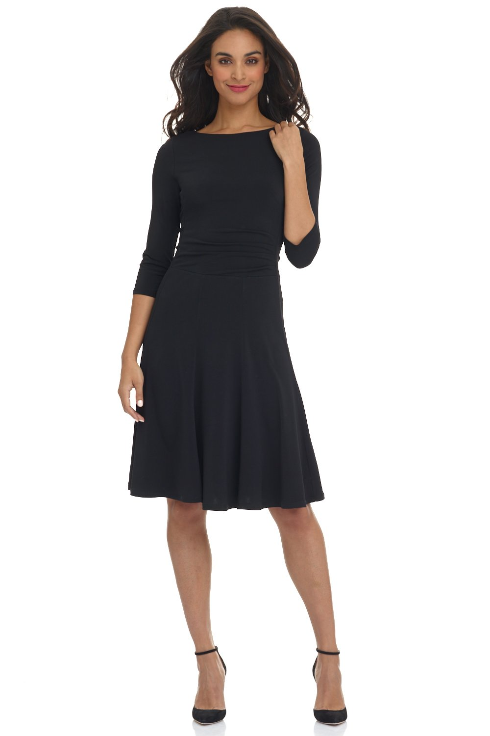 Rekucci Women's Flippy Fit N' Flare Dress with 3/4 Sleeves (6,Black)