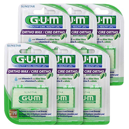 - GUM Orthodontic Wax, Mint with Vitamin E and Aloe Vera (Pack of 6)