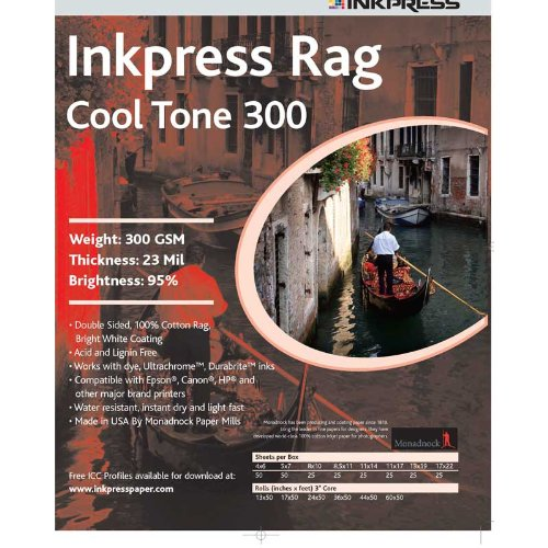 Inkpress PRCT3005750 Fine Art Rag Cool Tone 300 GSM 5in. X 7in. 50 Sheets