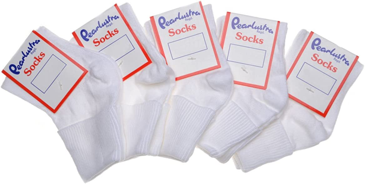 5 pairs of Baby Girls White Turnover Top Ankle Socks