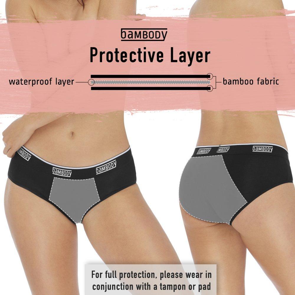 Bambody Period Panties: Hipster for Tweens & Women   Leakproof Briefs for  Light-Medium Discharge   Menstrual Underwear