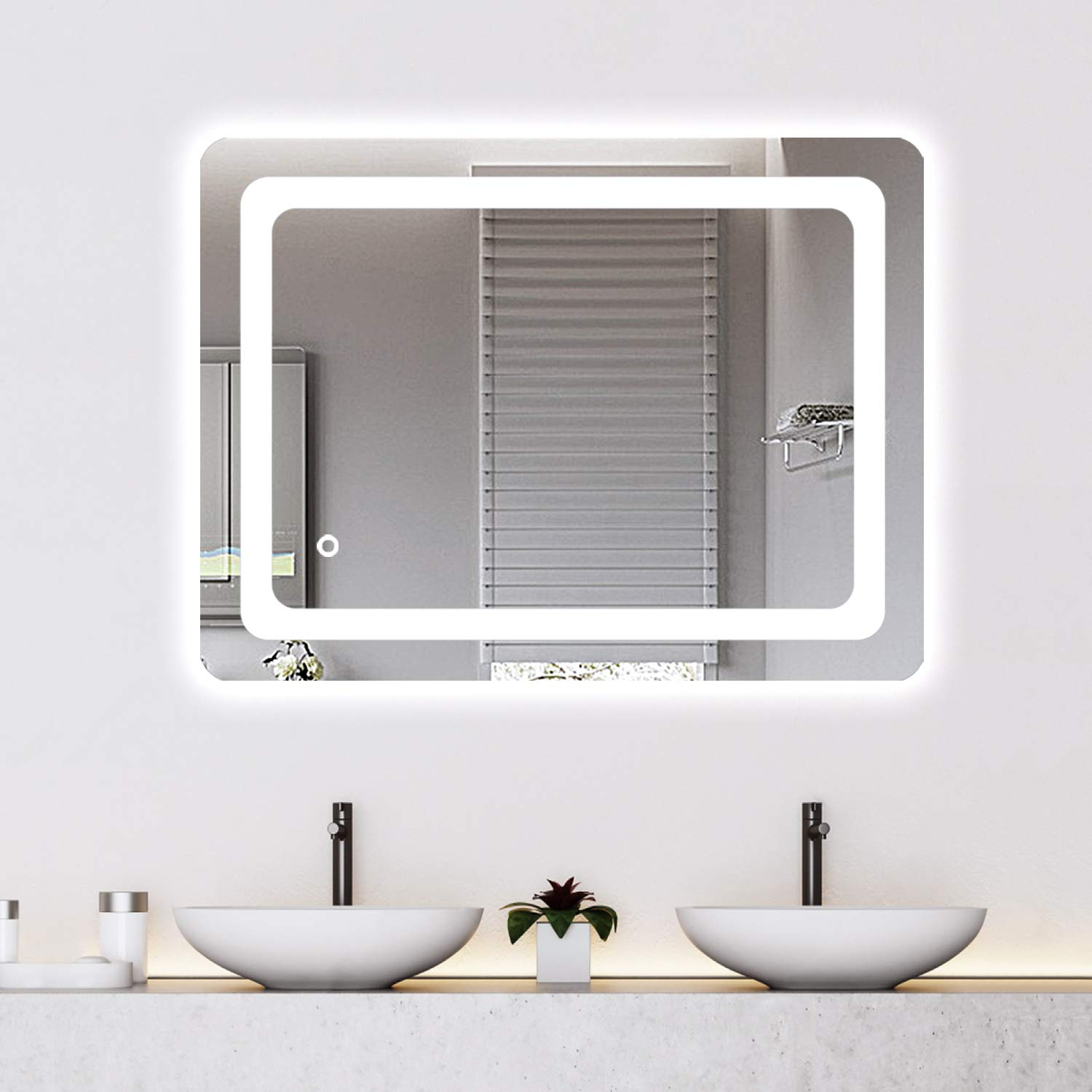 Cozy Castle Bathroom Mirror with LED Lights Lighted Makeup Vanity Mirror Wall Mounted Frameless Large Size 32x24 inch Rectangular, Memory Touch Button, Horizontal/Vertical, Warm White/Daylight Lights by Cozy Castle