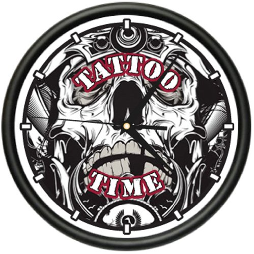 Amazon.com: TATTOO TIME Wall Clock ink shop tattoos gun artist: Home & Kitchen