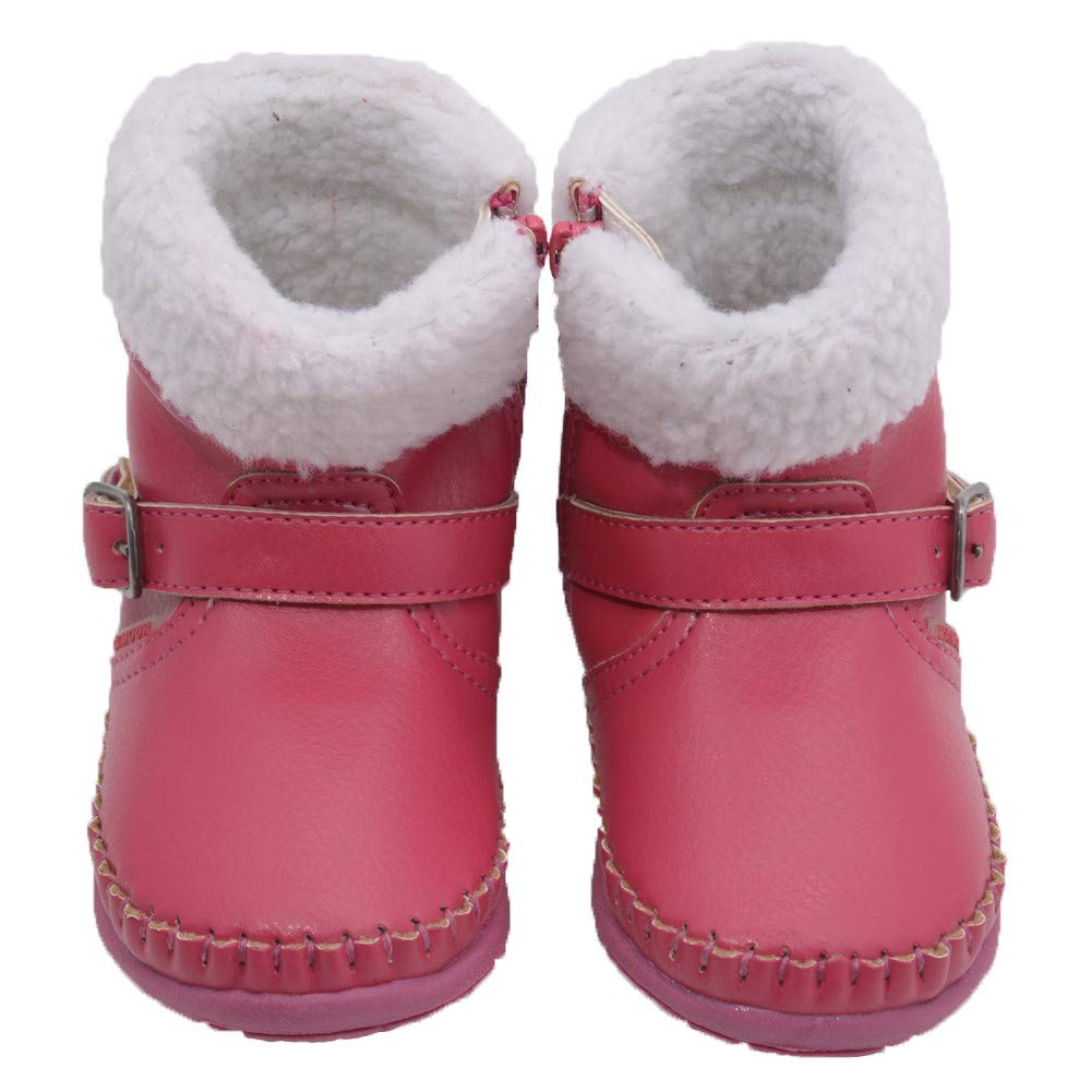 Angel Girls Fuchsia Fleece Lined Ankle Buckle Boots Shoes 4-7 Baby Toddler