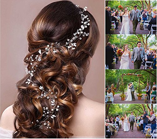 Wedding Headband Hair Accessories for Bride and Bridesmaid, Crystals Extra Long Hair Accessory for Party and Evening for Women and Girls (19.7 Inches)