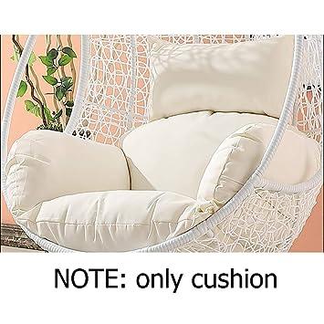 QXY Imperméable Swing de Coussins de Chaise sans Support, Patio Jardin  Osier Suspendus œuf Coussin de hamac Chaise rotin-Blanc
