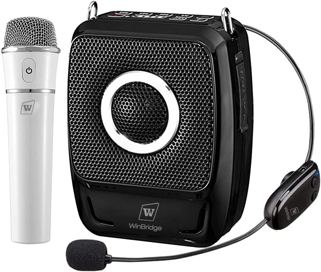 Wireless Portable PA System Microphone and Speaker Set- 10W Rechargeable  Bluetooth Voice Amplifier Loudspeaker with Headset/Handheld Mic, Mini  Karaoke