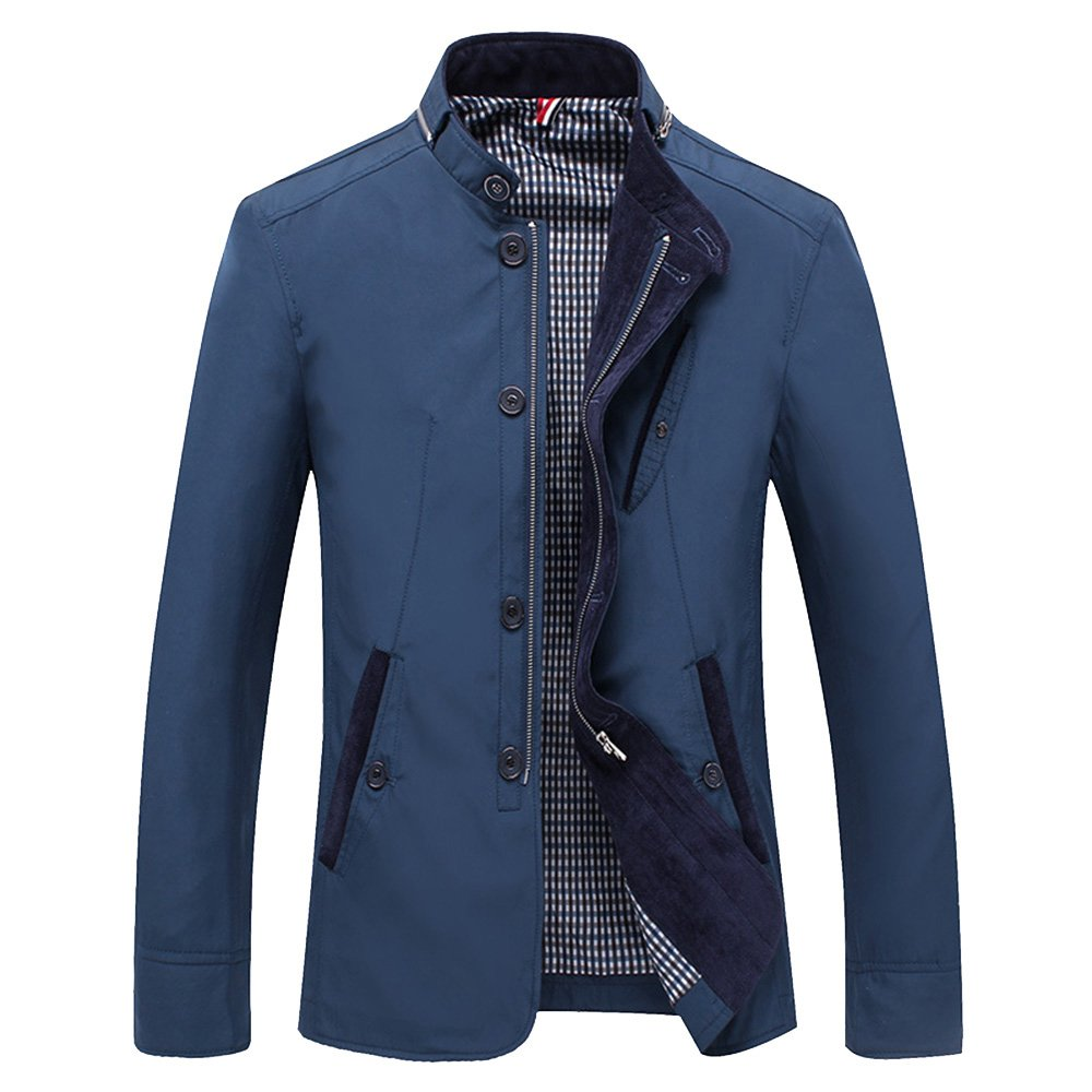 LOVE&FASHION Men's Spring Casual Thin Youth Business Tide Outdoor Sportswear Windbreaker Lightweight Bomber Jackets Coats (Blue, X-Large)
