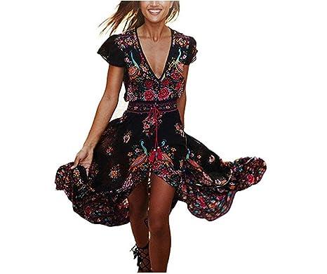 2c9e7f50163c CZ130 Vestito Lungo Donna Estivo Scollo V Casual Elegante Bohemian Floreale Abito  da Spiaggia Retro alla Moda Manica Corta Spacco Cocktail Vestito Formale   ...