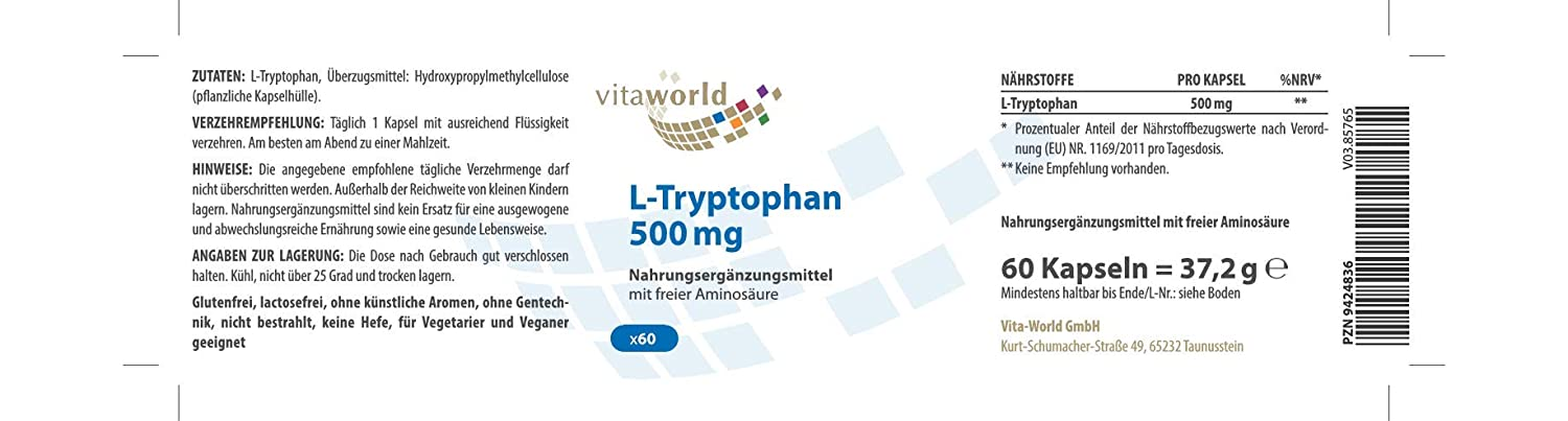 L-Triptófano 500mg 60 Cápsulas Vita World Farmacia Alemania ...