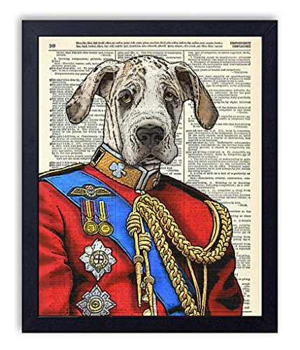 Dane Vintage Colors - Prince Daneington Great Dane Art Print Vintage Wall Art Upcycled Dictionary Art Print Poster 8x10 inches, Unframed