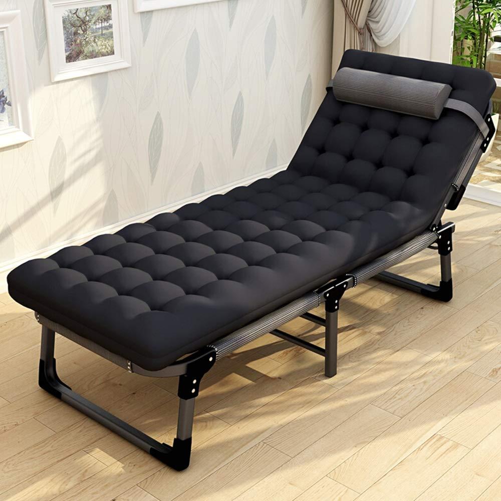 MISHUAI Klappbett, Folding Bed tragbares Camping Kinderbett for Innen Büro Balkon Garten Strand Außen Bett mit Einfache Stapelung und Lagerung (Farbe : Schwarz, Größe : 192X68X30.5CM)