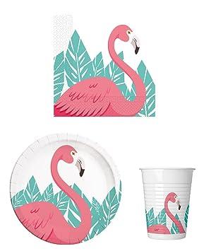 52 Piezas Fiesta de vajilla Flamingo – fiesta temática infantil de cumpleaños – Platos, vasos y servilletas para 16 personas