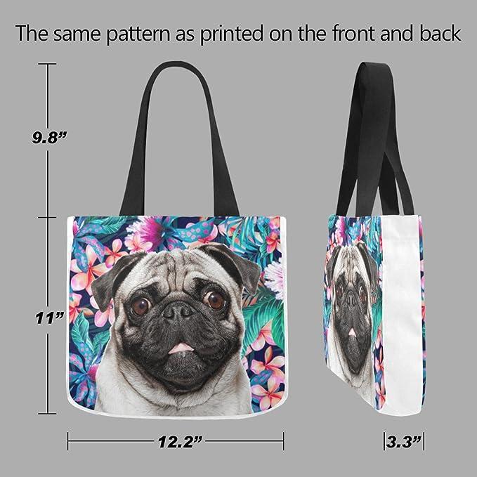 1dc6090346 Maltés perro flor patrón impreso - personalizado diseño reutilizable  respetuosa con el medio ambiente Canvas Tote Bolsas (12,2