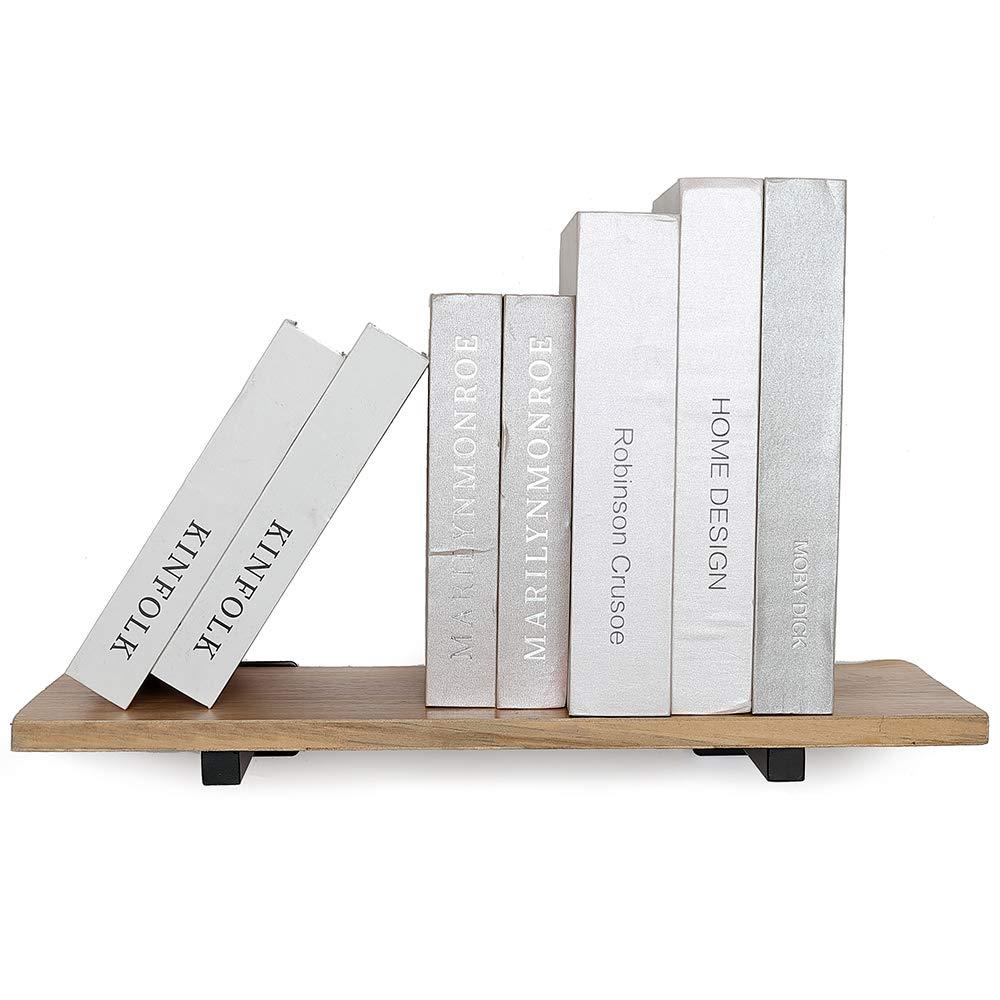 8 Blind Industrial Metal Shelf Supports Heavy Duty Floating Shelf Brackets Wall Mounted Concealed Hidden Hardware Brace for DIY or Custom Wall Shelving 2 Pack - Black