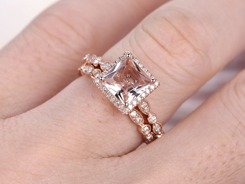 2pcs Diamond Ring Set, 6.5mm Princess Cut Morganite 14k Rose Gold ...