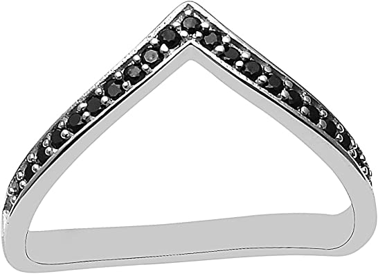 Bague Spinelle noire en argent sterling 925 empilable pour femme