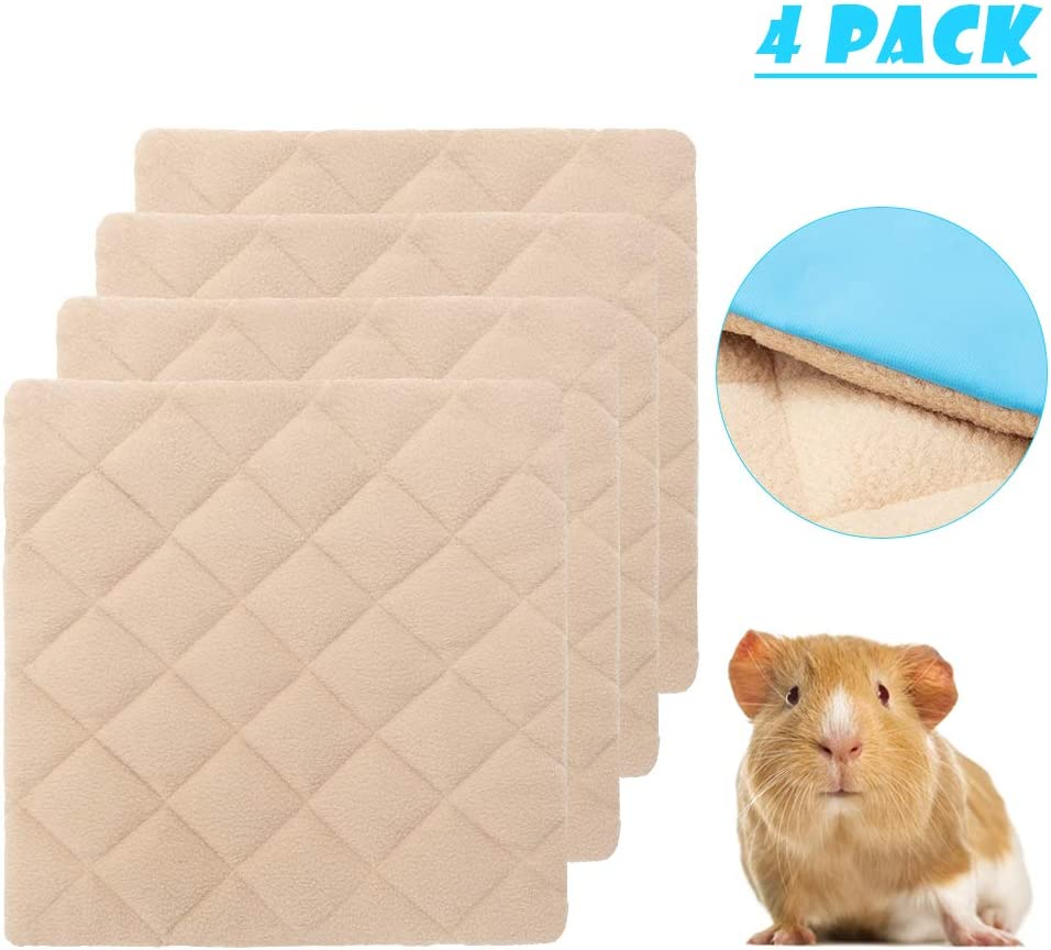 BINGPET Guinea Pig Fleece Urine Pads 4 PCS Waterproof and Anti-Slip Bottom Super Absorbent Fleece Liners Bedding for Guinea Pig Cage