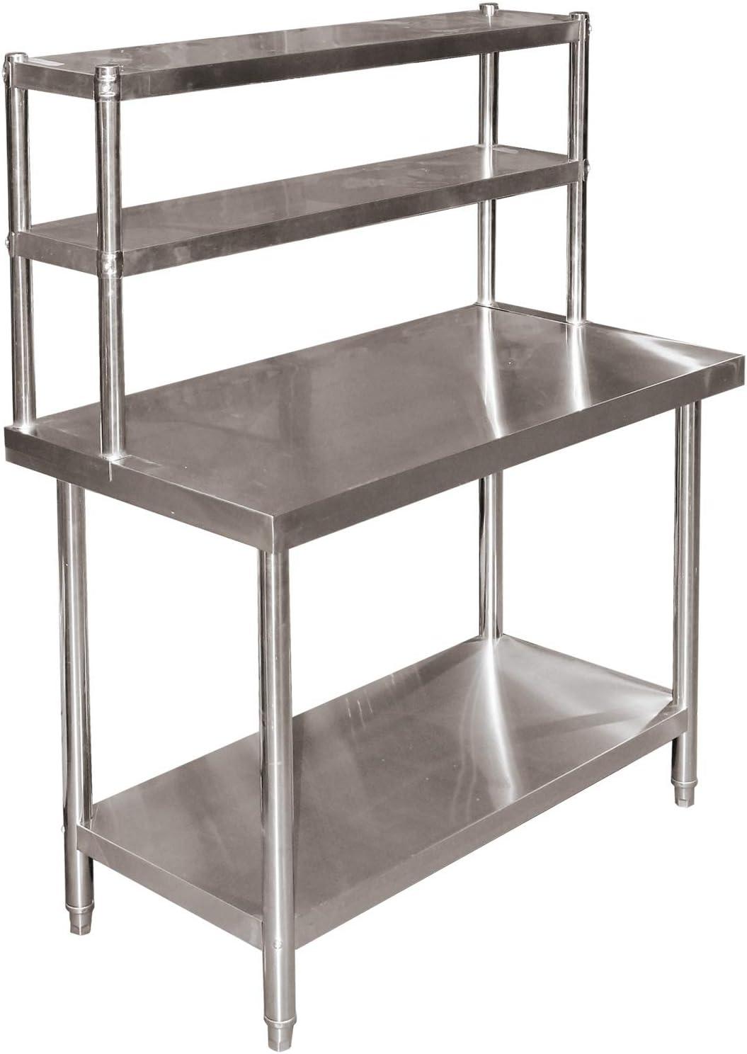 Mesa trabajo acero inoxidable 120x60x85cm estantería 2 niveles ...
