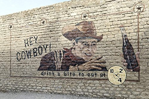(Photograph | Old Dr Pepper soft-drink outdoor advertisement on a building near the Dublin Bottling Works and W.P. Kloster Museum in Dublin, Texas| Fine Art Photo Reporduction 36in x 24in)