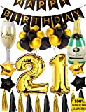 21st BIRTHDAY PARTY DECORATIONS KIT - 21st Gold Birthday Decoration Kit, 21st Gold Number Balloons, Decoration Party, 21st Anniversary Event, Number 21, Perfect 21st Years Old Party Supplies