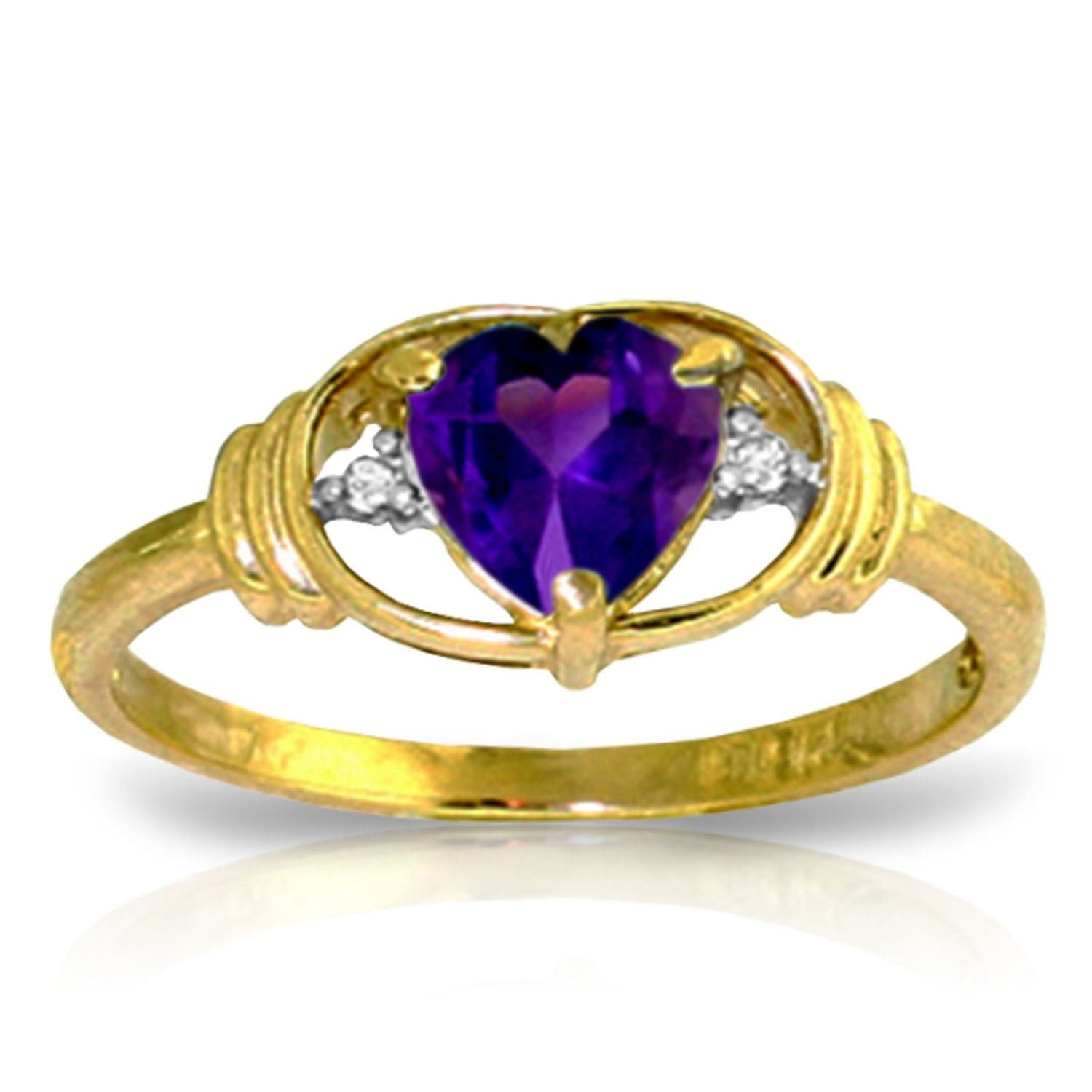 ALARRI 0.96 Carat 14K Solid Gold I Amethyst Love Amethyst Diamond Ring With Ring Size 5