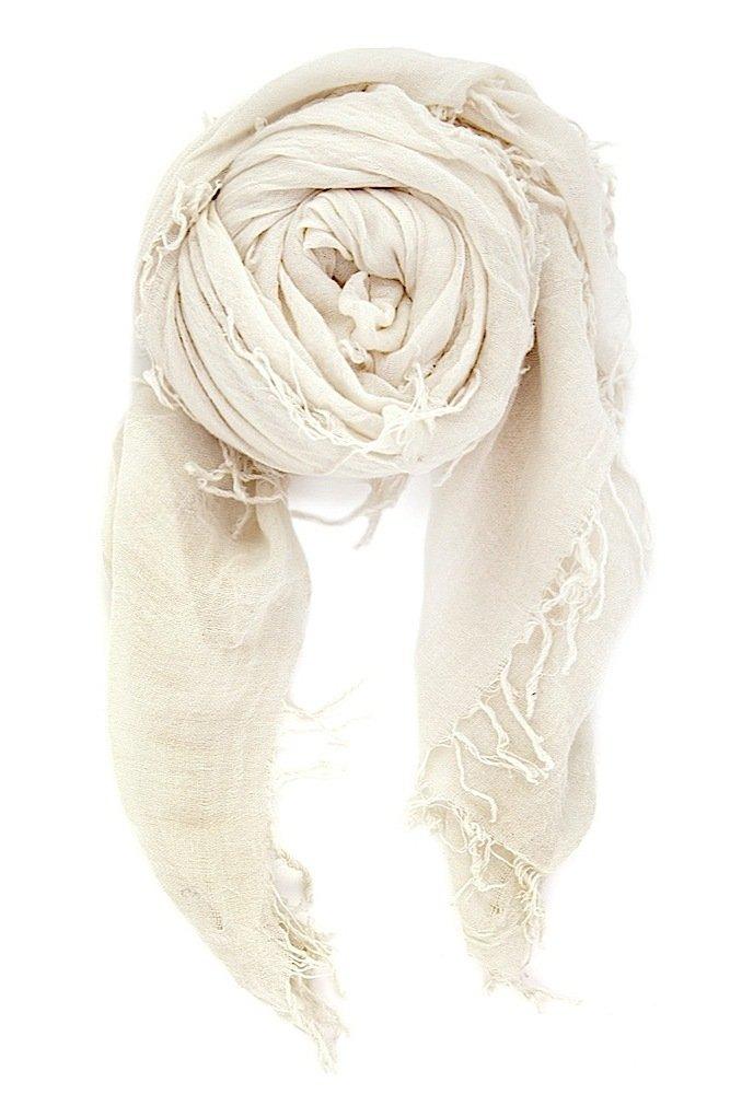 Chan Luu Women's Combo Cashmere Silk Scarf 62''x 58'' in Eggshell