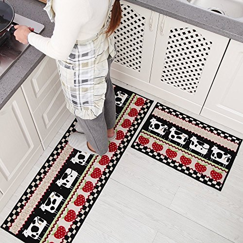 Dotteen Decorative Kitchen Rugs 2 Pieces Non-Slip Rubber Backing Doormat Runner Area Mats Sets, Cow Design, Black (16x48 inch + 16x24 inch)