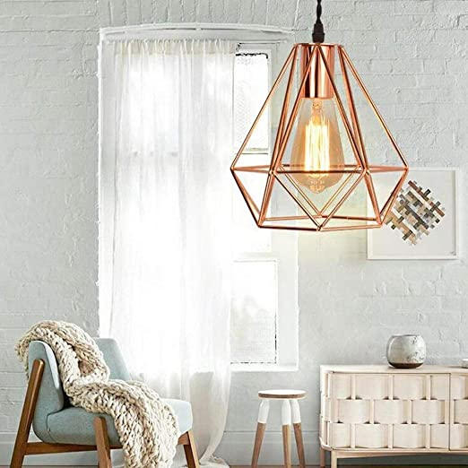 Shfmx Araña, Arte Moderno Diamante Forma Colgante luz pájaro Jaula ...