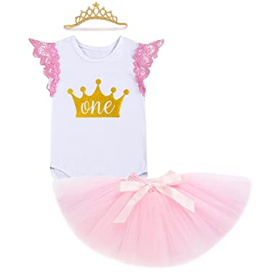 c30b511ca OBEEII Baby Girls It's My 1st Birthday Outfit Toddler Kids Princess Dress For  Birthday Party Cake