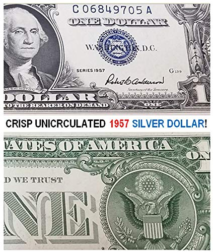 1957 CRISP UNCIRCULATED BLUE SEAL 1957 SILVER DOLLAR! LAST U.S. SILVER $1!! $1 CRISP UNCIRCULATED