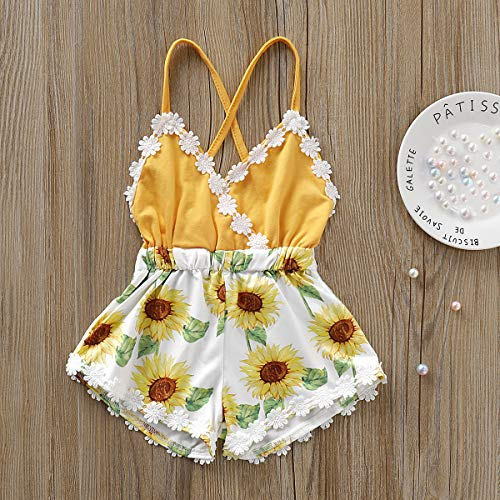 bcbe463a36d5a Summer Toddler Baby Girl Clothes Cute Watermelon Print Lace Trim Backless  Romper Shorts Jumpsuit (6-12 Months, Yellow)