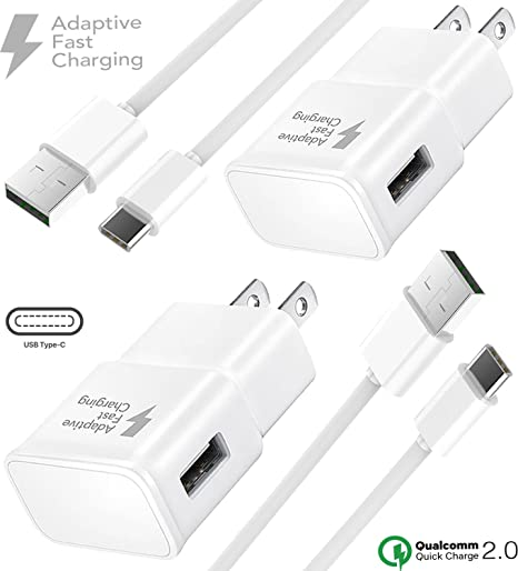 Boxgear Adaptive Fast Wall Charger Adapter USB-C Cable Set (2-Pack) for Samsung Note 10, Note 10+, Galaxy S10, S10 Plus, S10e, S9, S9 Plus 2X Fast ...