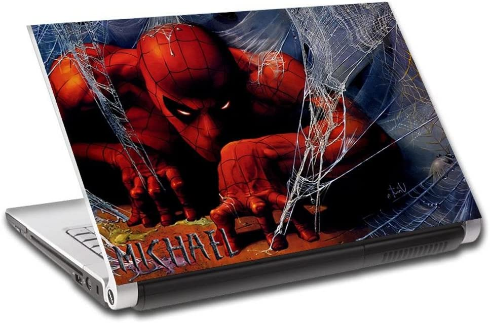 """Spider Man Artwork Personalized LAPTOP Skin Decal Vinyl Sticker ANY NAME L730, 17"""""""