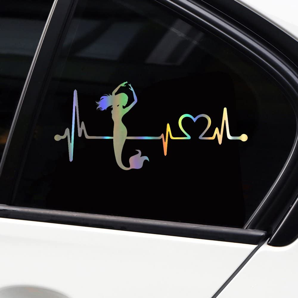Type 3 vylymuses Car Stickers and Decals Mermaid Heartbeat Lifeline Stickers for Car Bumper Stickers On Car Styling 7.16x3.26in Waterproof Dazzle Color Material Car Door Body Window Vinyl Stickers