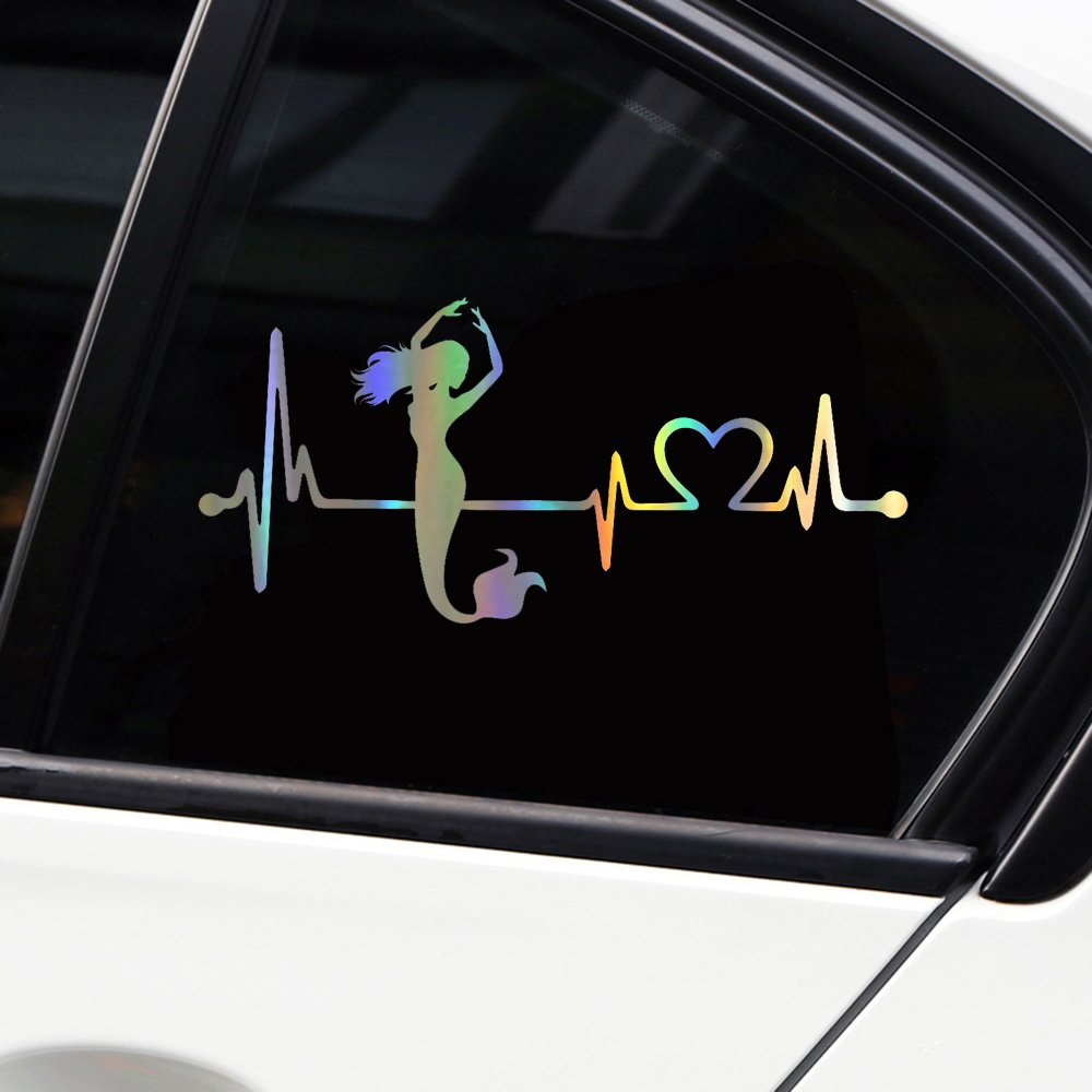 Vylymuses car stickers and decals mermaid heartbeat lifeline stickers for car bumper stickers on car styling 7 16x3 26in waterproof dazzle color material