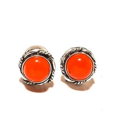 Black Onyx Sterling Silver Plated Stud// Earring 10 mm Ethnic Wear Handmade Jewelry