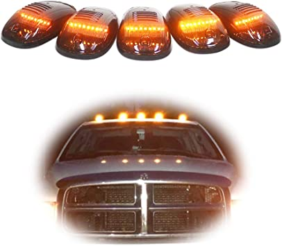 iJDMTOY Smoked Lens Amber LED Cab Roof Clearance Marker Lamps For Dodge RAM 1500 2500 3500 Ford F-Series Chevy//GMC Trucks etc 5-Piece Roof Running Light Set
