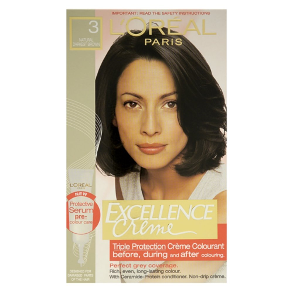 Loreal Excellence Permanent Hair Colour 3 Natural Darkest Brown