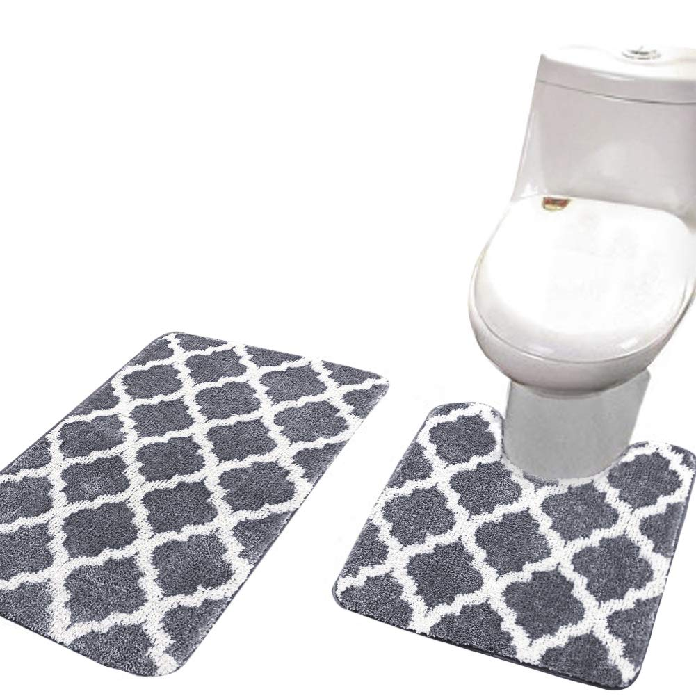 ShowerC Non Slip Bath Rug Set 2 Piece Bathroom Contour Rugs Combo, Soft Shaggy Bath Shower Mat 20 x 32 Inches and U-Shaped Toilet Floor Rug Grey 20 x 20 Inches