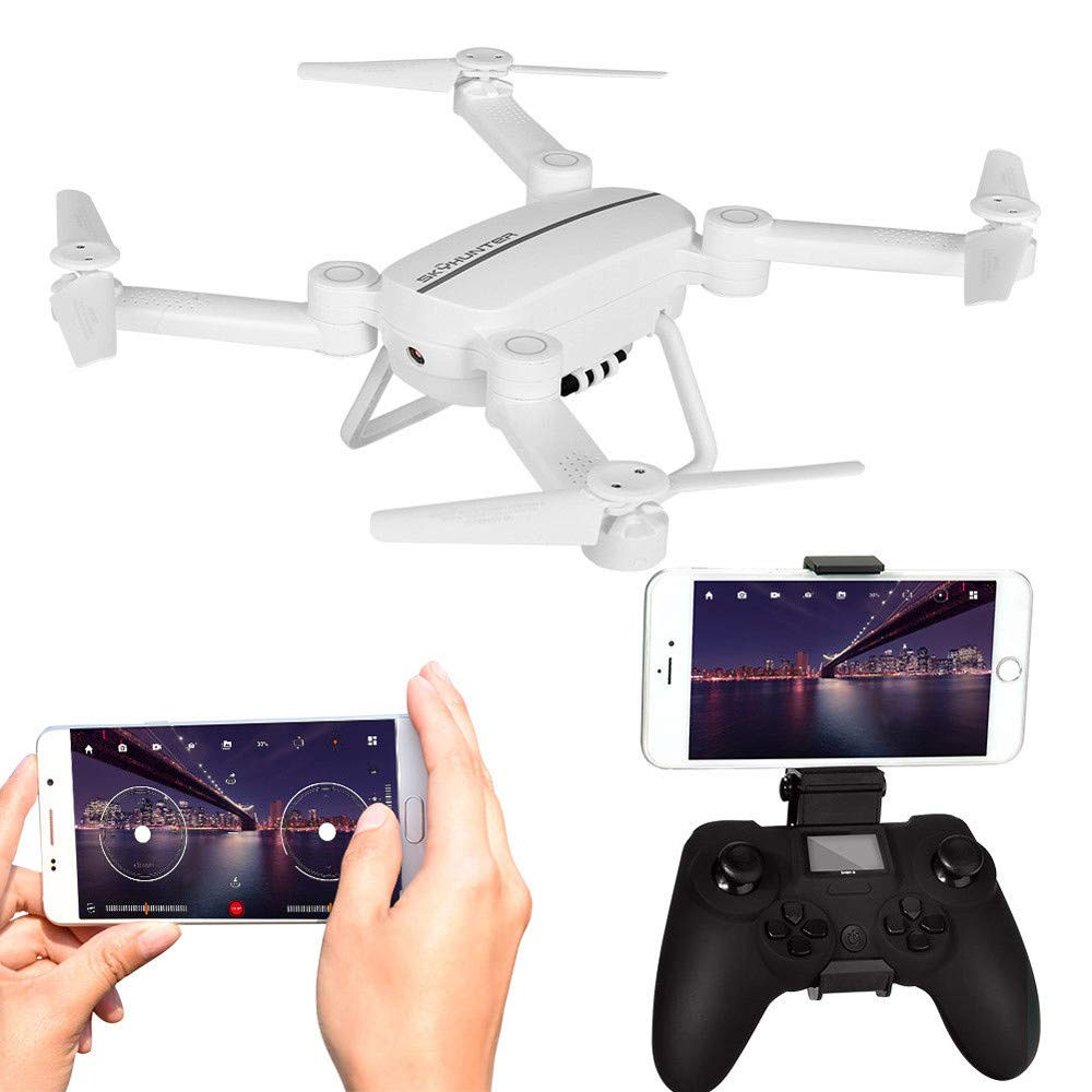 Mini Pocket RC Quadcopter with 2.4G 4CH HD Camera,Gravity Sensor,Headless Mode,Fixed Hover - 0.3MP WIFI FPV Selfie Fold Drone Toys Christmas Gifts for Adults Boys Kids Girls 14+,Gbell (White)