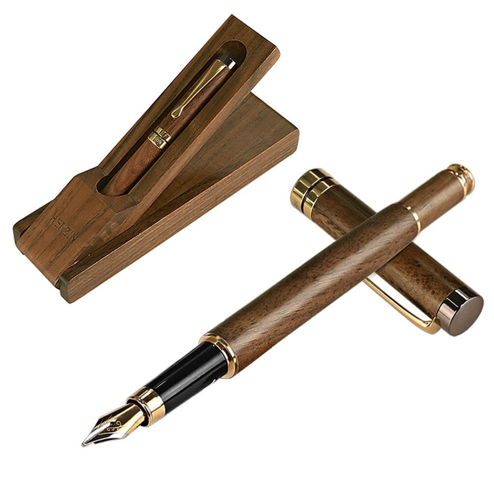 2a9b24bad8c3 HENZIN Fountain Pen Wooden Ink Pen Handcrafted Walnut with Ink Refill  Converter and Gift Box Vintage Drawing Writing Journal Calligraphy Pens For  Refillable ...