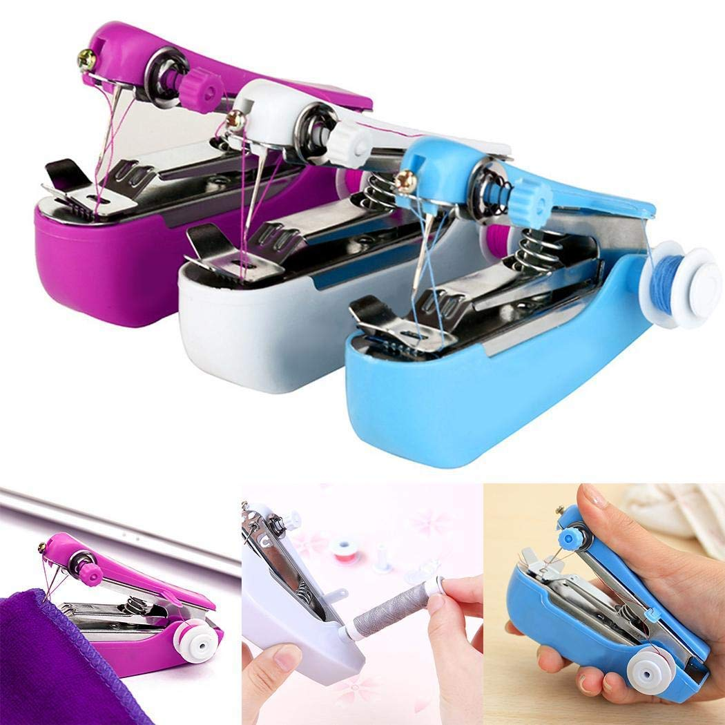 Bifast Portable Sewing Machine, Mini Cordless Handheld Stitch Electric Household Tool for Fabric, Clothing, Kids Cloth, Home Travel Use Random Color (Random Color)