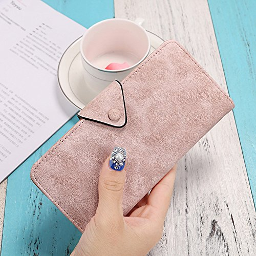 Mujer Cartera Billetera larga Card Holders de cuero PU y Gran capacidad para Tarjetas y Móvil Con Cremallera Negro Luz Pink