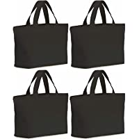4 Pcs Canvas Tote Bag Bottom Gusset Washable Grocery Tote Bag with Handles
