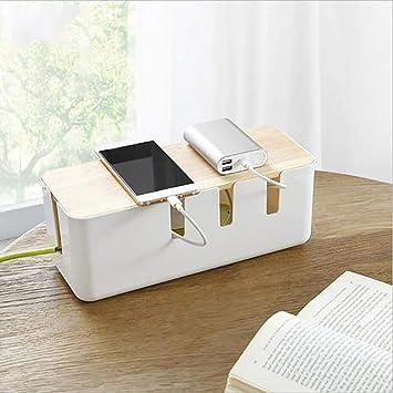 HELEVIA Caja de gestión de cables de madera, caja de almacenamiento rectangular de enchufe organizador de enchufe de alimentación accesorios de estación de carga (3,58x7,0 pulgadas): Amazon.es: Bricolaje y herramientas