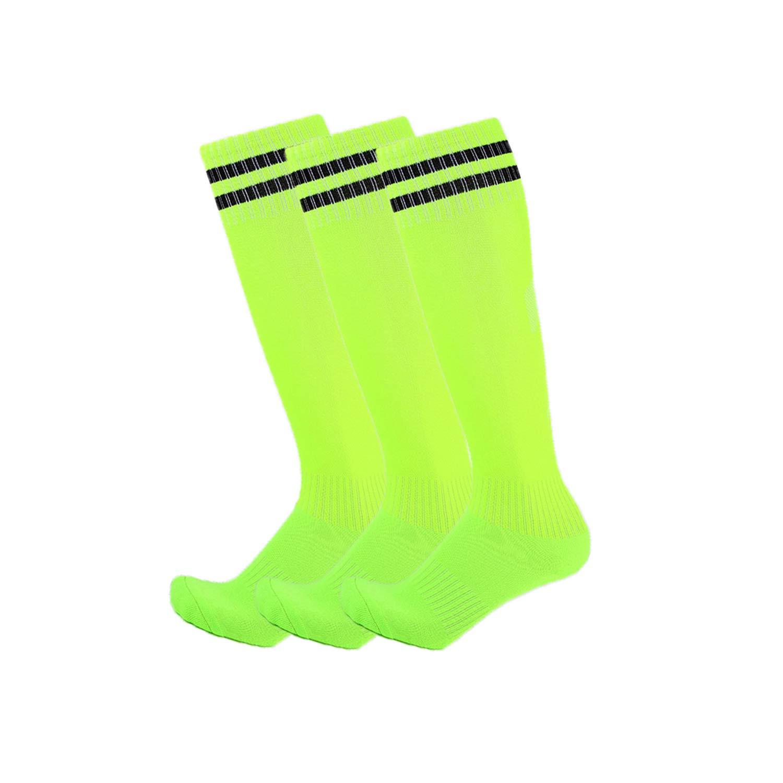 3 Pairs Boys Girls Soccer Socks Towel Cushioning Compression Sport Socks Cotton Team Socks for Children & Kids & Teenagers Green by EBlife