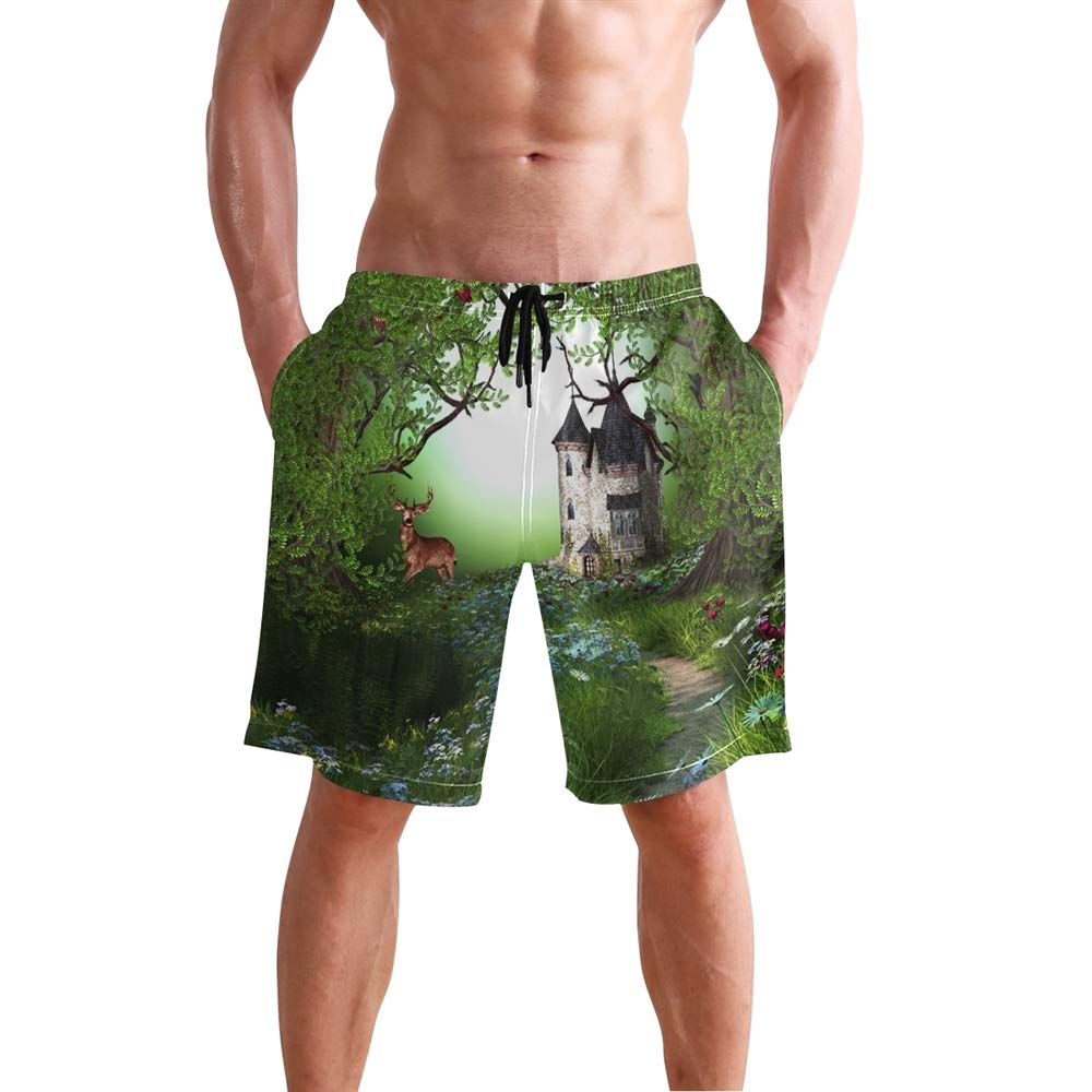 Mens Elk in Forest Castle Swimming Trunk Surf Shorts Beach Swimsuits