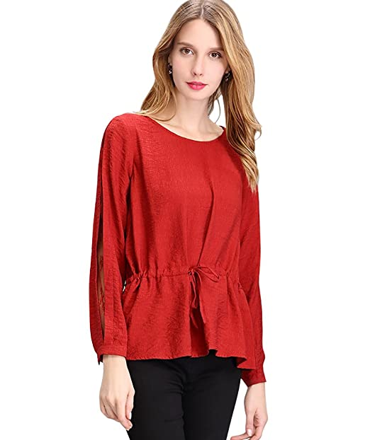 NiSeng Mujer Blusas Manga Larga Camisetas de Encaje O Cuello Camisa de Color Solido Blusa Tops