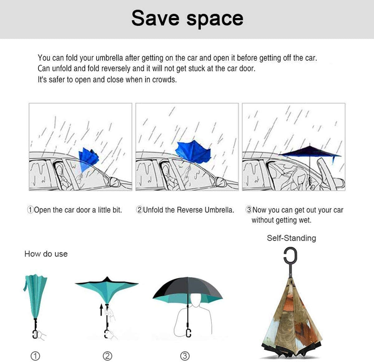 Arcanine Cartoon Car Reverse Umbrella Windproof And Rainproof Double Folding Inverted Umbrella With C-Shaped Handle UV Protection Inverted Folding Umbrellas